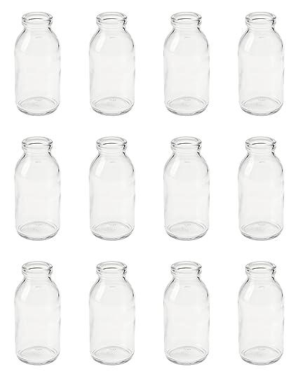 12 x jarrones botellas de cristal (10,5 cm vial de cristal rústico vintage