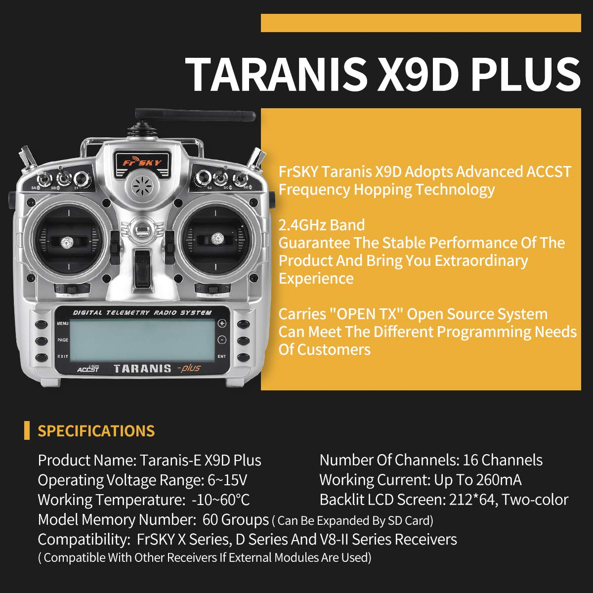 LITEBEE Frsky Taranis X9D Plus Transmitter 16CH 2 4ghz ACCST RC Transmitter  (RSSI Alarms) Compatible Frsky RC Receiver for FPV Racing RC Drone