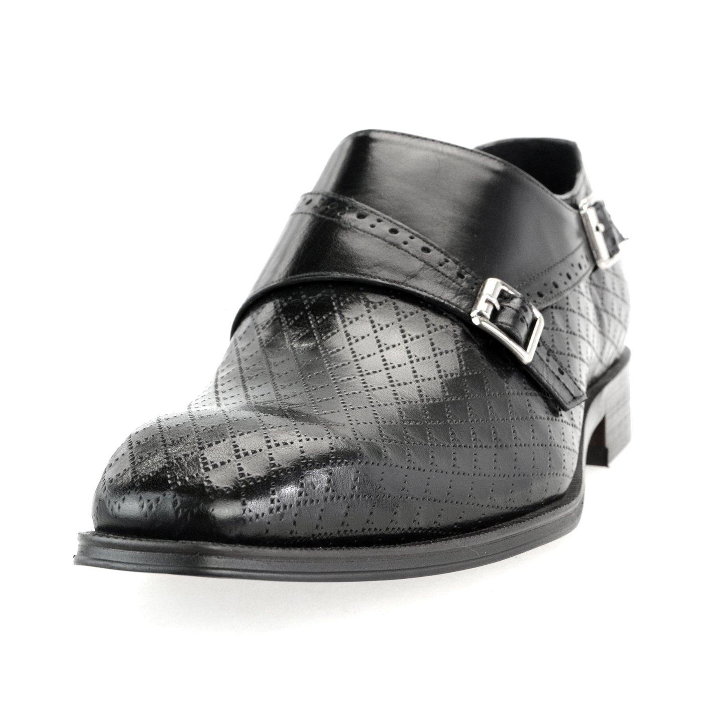 [ルシウス] LUCIUS 本革 20種類から選ぶ レザー メンズ ダブル モンクストラップ メダリオン ストレートチップ 革靴 紳士靴 B076DXT71P 25.5 cm 3E|HA17528-2 ブラック HA17528-2 ブラック 25.5 cm 3E