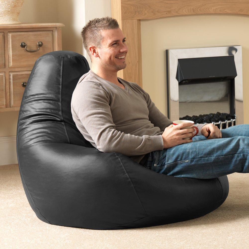 Bean Bag Bazaar® Gaming Sitz Sack Designer Liegesessel SCHWARZ Lederimitat    Extra Large Sitzsack Sessel