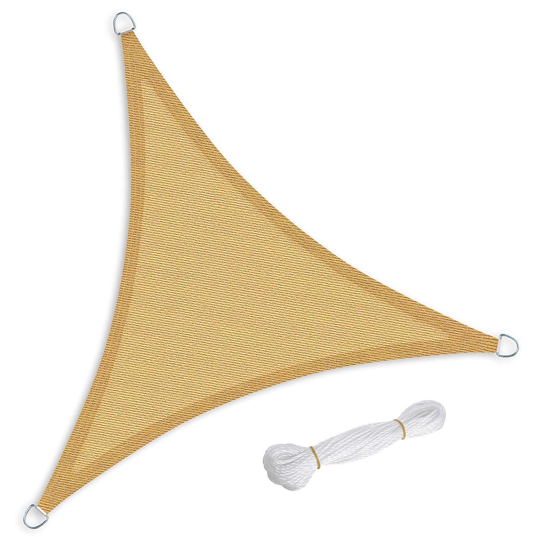 SONGMICS 3 x 3 x 3 m Tenda Parasole Vela Ombreggiante in HDPE Protezione Solare Protezione dai Raggi UV Respirante Permeabile Utilizzabile per Giardino Balcone Terrazza Panna e Giallo GSS30EYV1