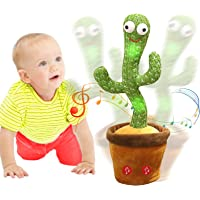 Emoin Dancing Cactus Repeats What You Say,Electronic Plush Toy with Lighting,Singing Cactus Recording and Repeat Your…
