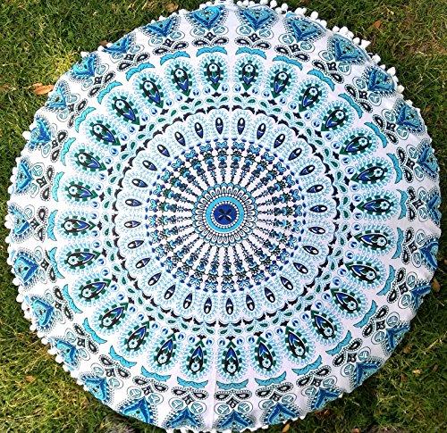 Indian Craft Castle 32'' Mandala Barmeri Large Floor Pillow Cover Cushion Meditation Seating Ottoman Throw Cover Hippie Decorative Zipped Bohemian Pouf Ottoman Poufs, Pom Pom Pillow Cases (sky blue) by Indian Craft Castle