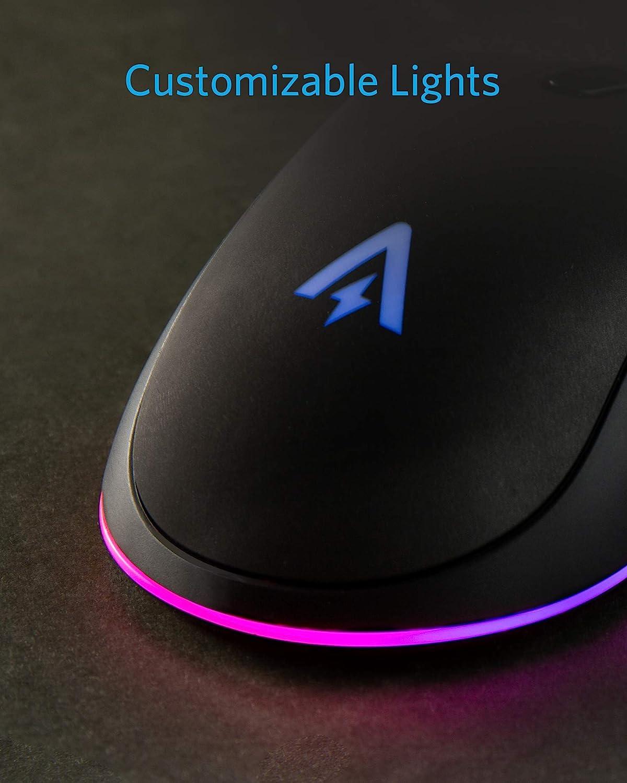 Anker Gaming-Mouse mit 6 DPI-Einstellungen ergonomisches Design 800, 1600, 2400, 3200, 4800, 6400 DPI USB-Maus 1000 Hz Signalrate Einstellbare Tasten