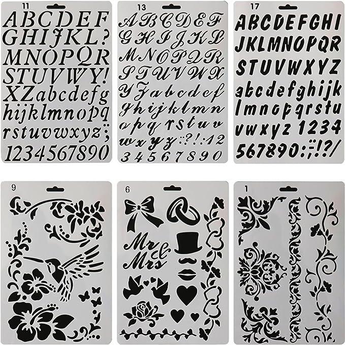 sunswei 6 PCS Zeichnen Malerei Schablonen, Alphabet und Zahlen ...