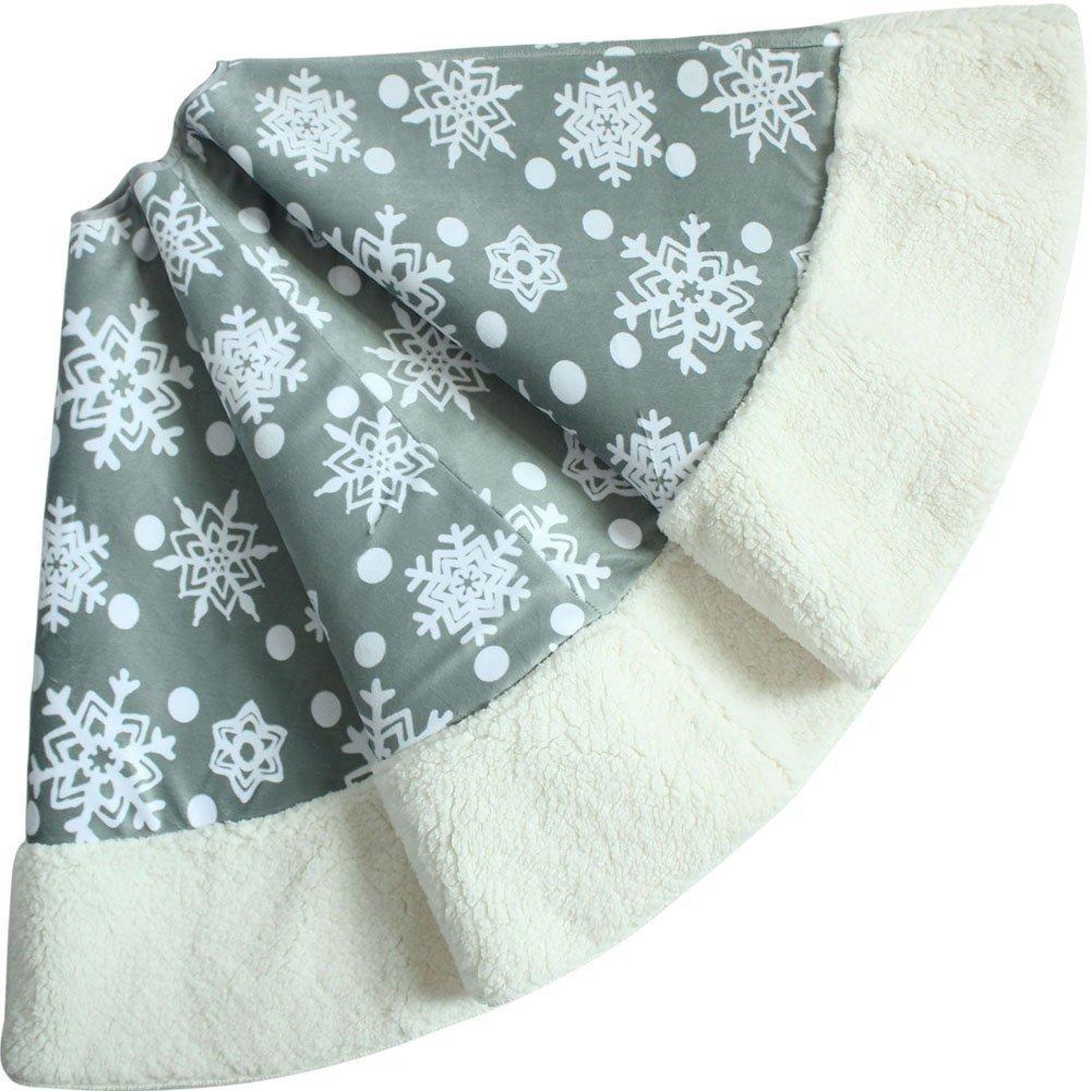 50'' Christmas Tree Skirt - Decorative Christmas Tree Skirt for Christmas &Holiday/Light Gray with White Snow Flake Pattern and Fleece Border (Three Layer Construction)