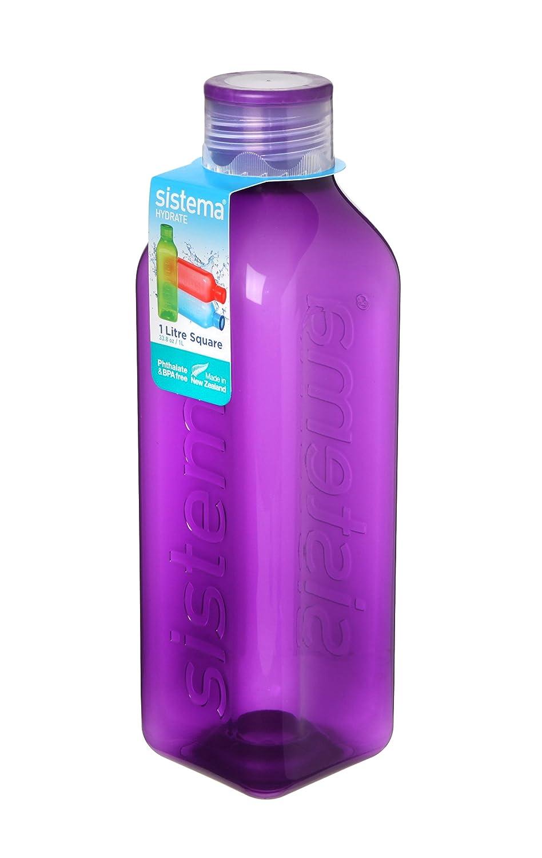 Sistema - Botella Cuadrada Retro, plástico, Varios Colores, 1 litro: Amazon.es: Hogar