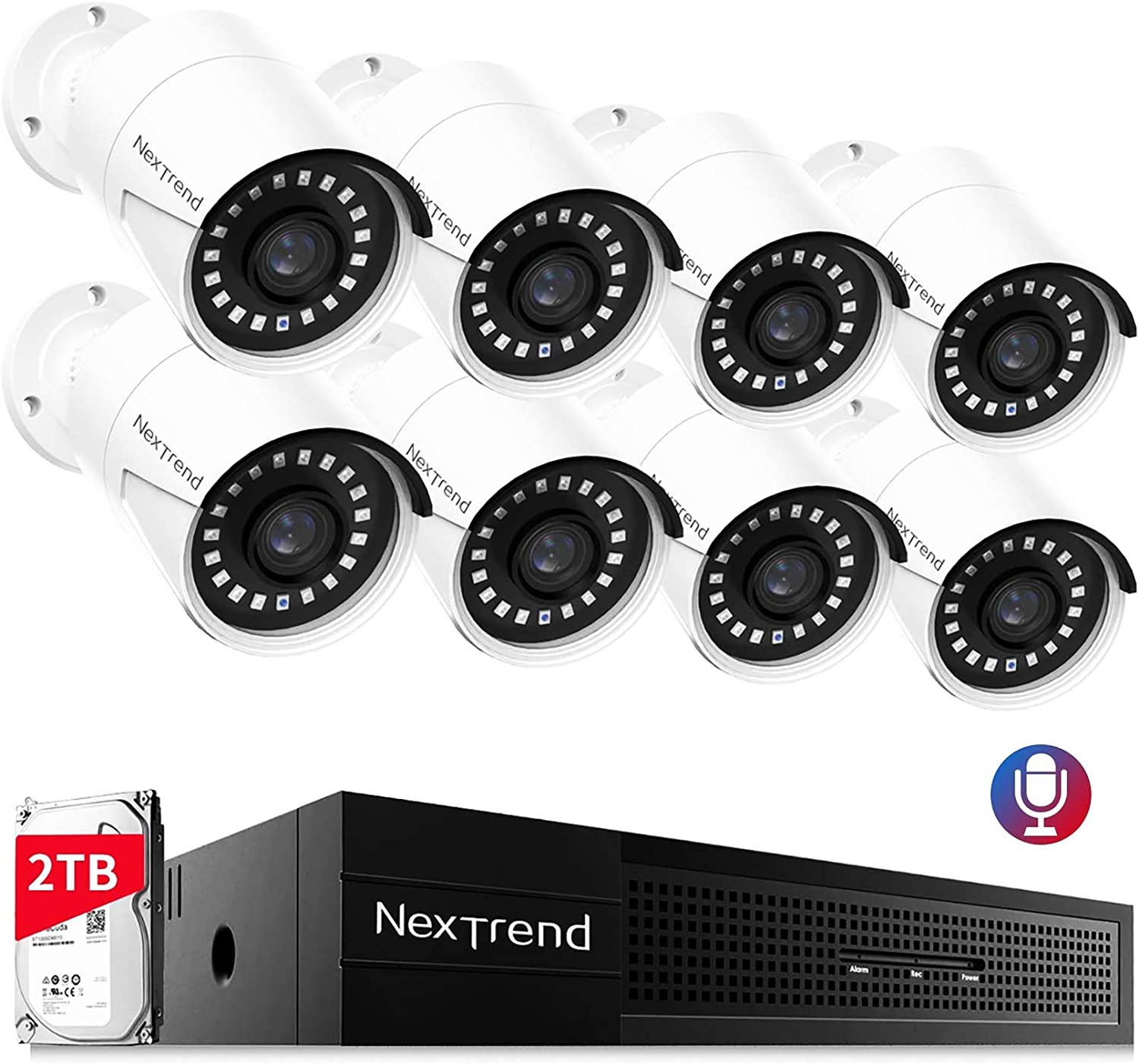 POE Ring Security Camera System - NexTrend Smart Home Security Camera System 8pcs 5MP HD Surveillance Cameras Day&Night Vision with 2TB Hard Drive Outdoor Video Audio Camera System Plug and Play