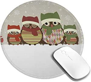 Mousepad Round Merry Christmas Cute Owl Family Computer Laptop Mouse Pad Non Slip Mini Cute Small Circle Gaming Mouse Mat with Black Rubber Base for Women Kids Girls Boys Men 7.9in