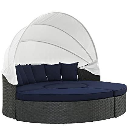 Modway Sojourn Outdoor Patio Sectional Daybed With Canopy With Sunbrella  Brand Navy Canvas Cushions