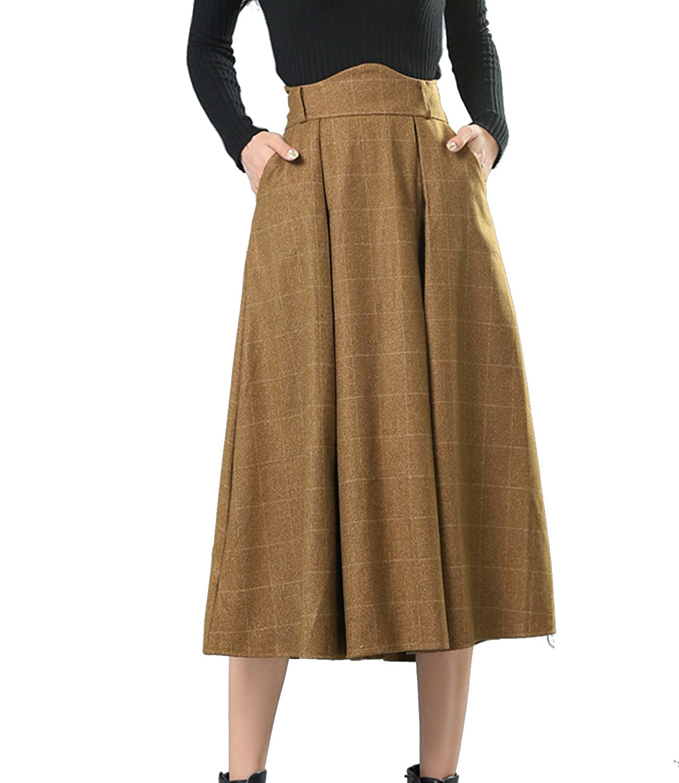 Edwardian Style Skirts Sanifer Womens Wool Plaid Flared Skirt Winter Fall Long Midi Skirt $28.99 AT vintagedancer.com