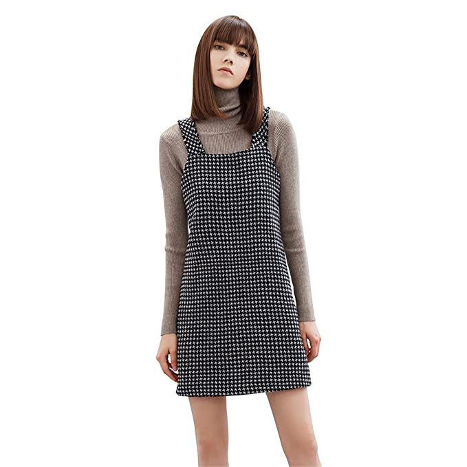 d1903bd511 Houndstooth Women Overalls Skirt Dress Pocket Camisole Vest Dress Skirt  SIZE  L
