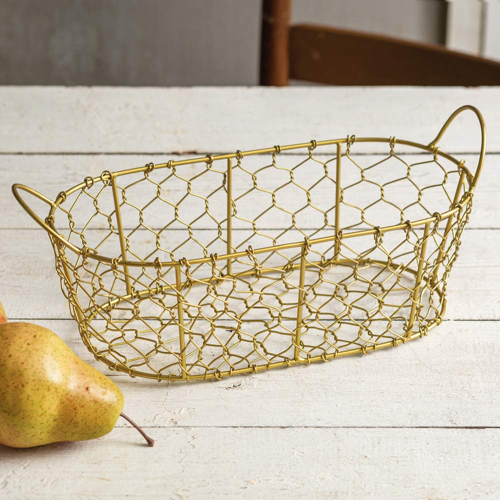 Colonial Tin Works Oval Chicken Wire Basket Small Decorative Farmhouse Centerpieces Bathroom Storage Organizer Metal Bin with Handles for Kitchen Cabinets, Pantry, Laundry Room, Gold