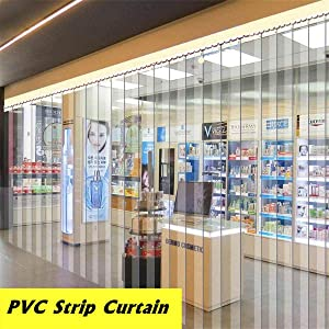 Ainy Transparent Plastic PVC Strip Curtain Thickness 2.3Mm (0.09In) Freezer Room Door Strip Kit Hanging Rail Curtains Heat Cold Resist Windproof Common Door Kit (Hardware Included),1.82.2m~12PC