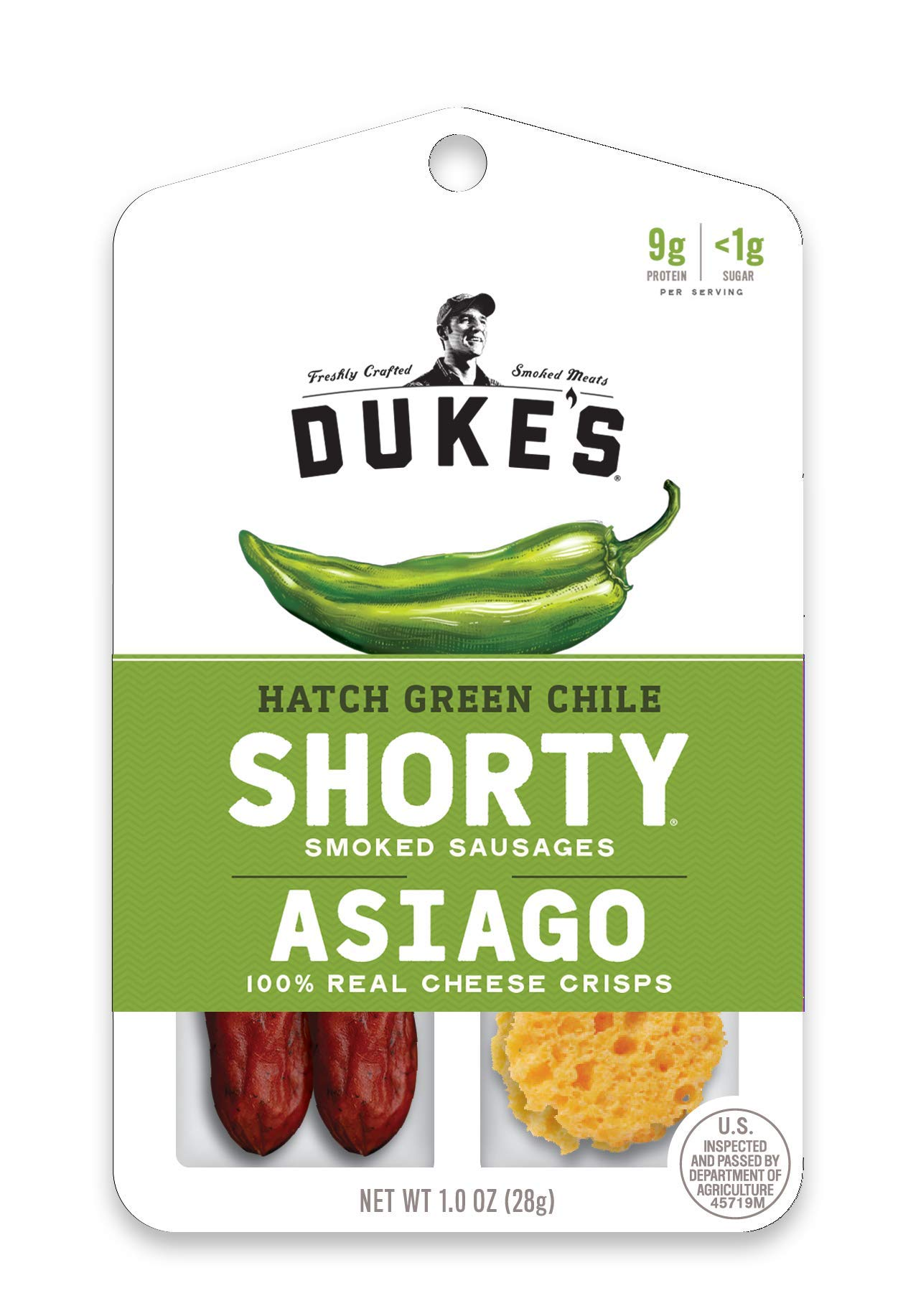 Duke's Hatch Green Chile Shorty Smoked Sausages & Asiago Cheese Crisps, 1 oz. 12Count