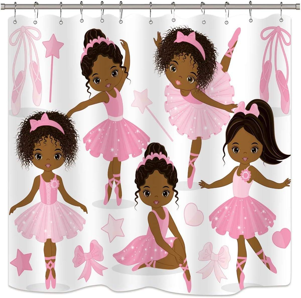 Riyidecor Pink Ballet Shower Curtain Cute Girl Ballerina Dancer Skirt Gymnastic Kid Nursery Bathroom Child Fabric Waterproof For Bathtub 72wx72h Inch Include 12 Pack Plastic Shower Hooks Kitchen Dining