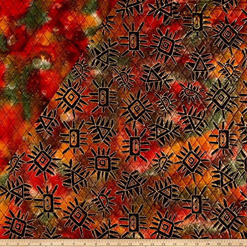 - Textile Creations Double Face Quilted Indian Batik Abstract Fabric by The Yard, Metallic/Orange