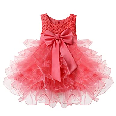 IEFiEL Infant Baby Girls Beading Bodice Bowknot Wedding Birthday Party  Christening Princess Tutu Dress Watermelon Red