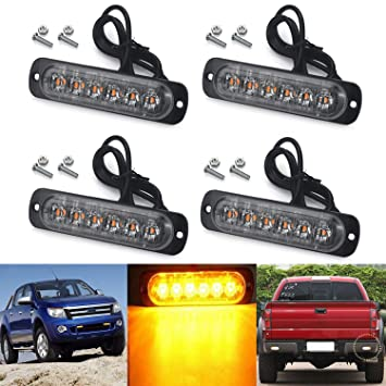 Auto Car Flashing Amber Recovery Strobe 6 LED Lights Grill Breakdown 12V Lamp