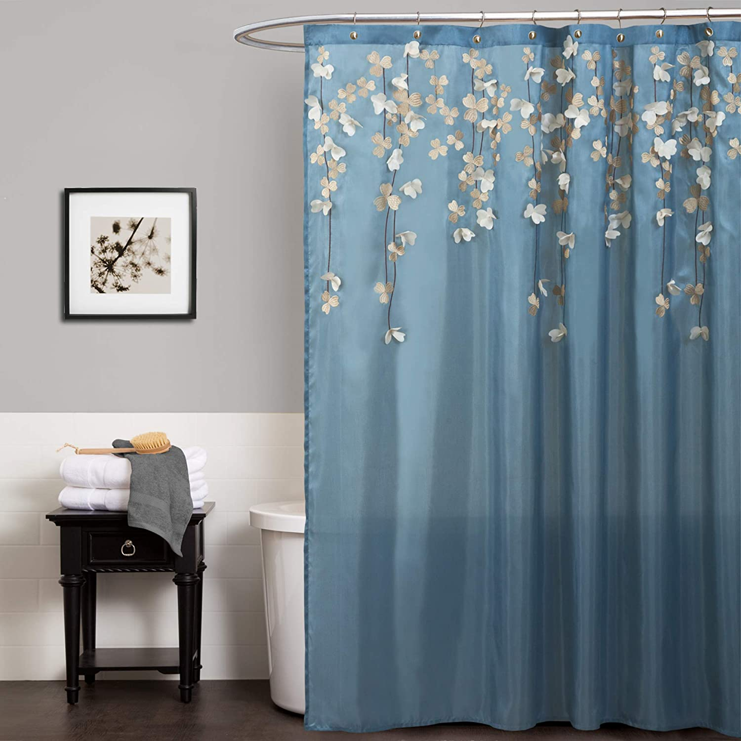 "Lush Decor Flower Drops Shower Curtain | Embroidered Textured Fabric Floral Bathroom Decor, 72"" x 72"", Blue and White"