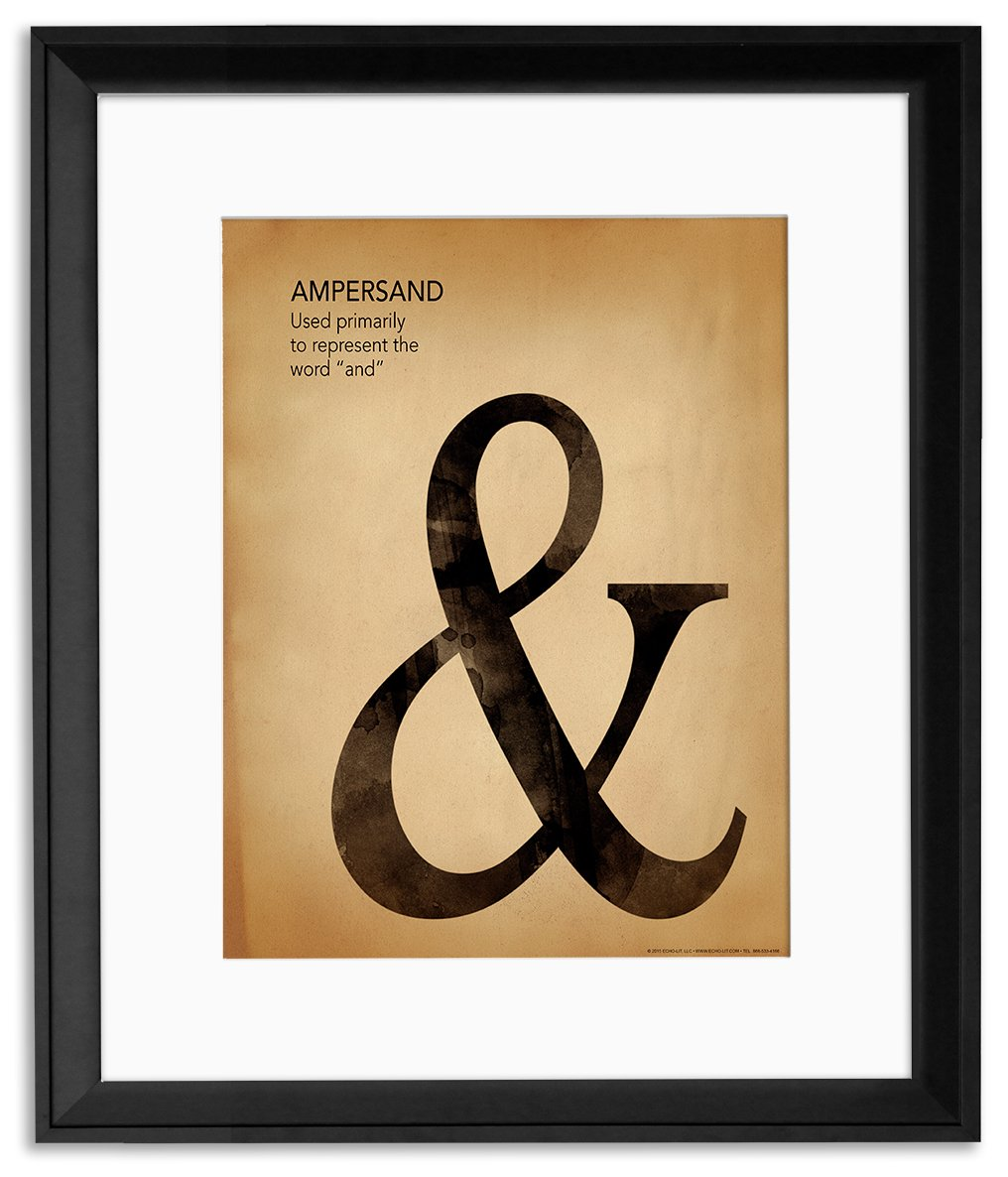 Popular Punctuation, Writing and Grammar Framed Poster Set for Home, Office, Classroom, or Library.