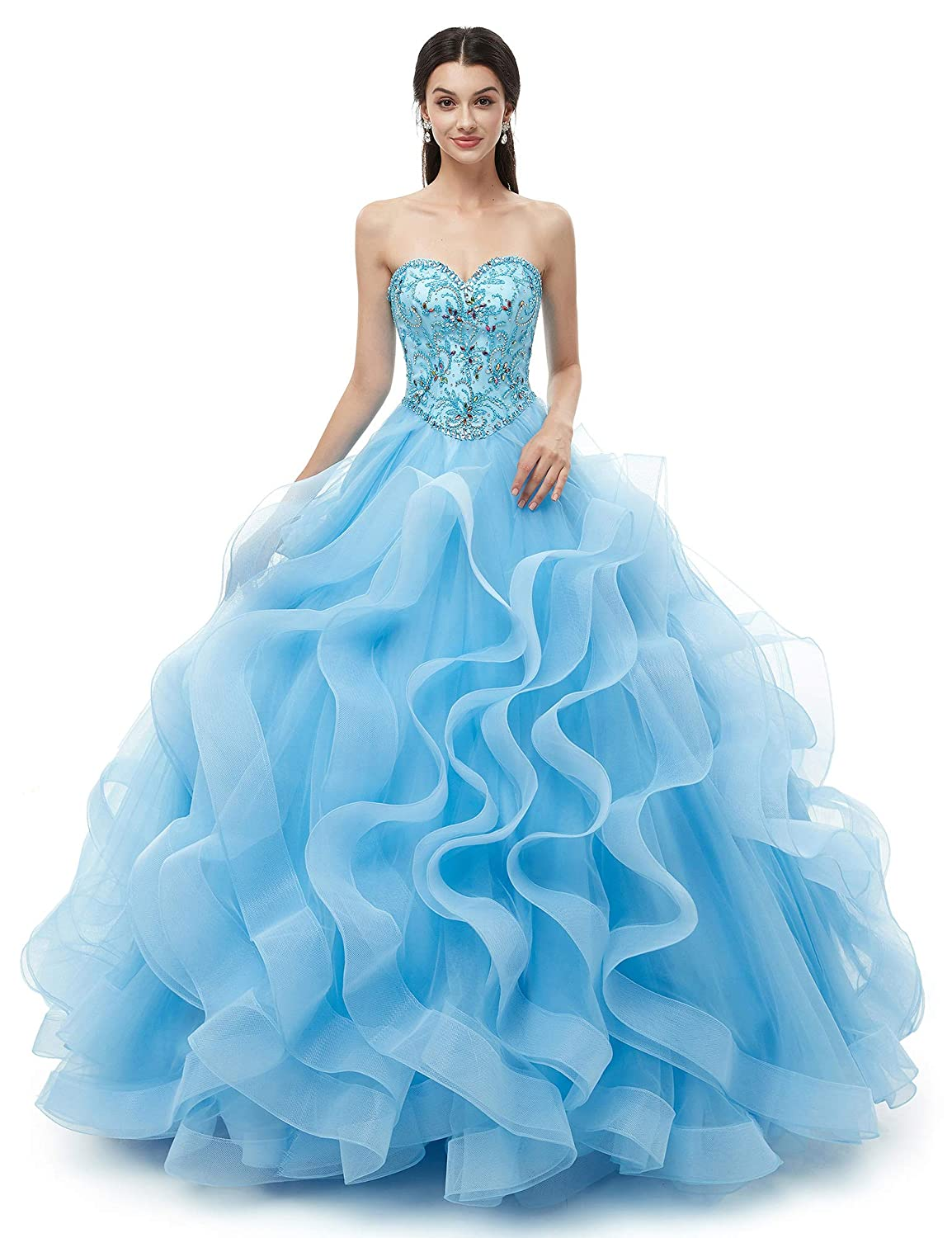 bluee ONLYCE A Line Sweetheart Ball Gown Beaded Floor Length Tulle Prom Dress