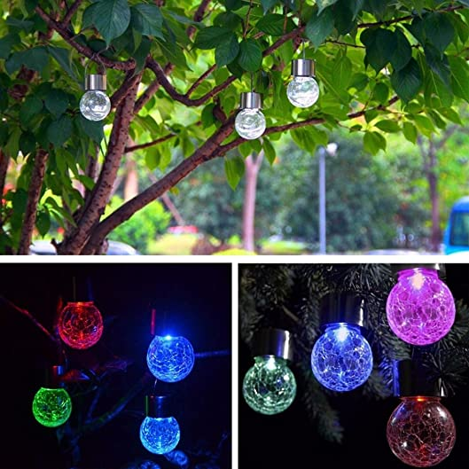4PC Waterproof Solar Rotatable Outdoor Garden Camping Hanging LED Round Ball Lights, Tuscom Multicolor