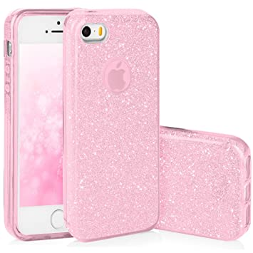 QULT Carcasa para Móvil Compatible con iPhone 5, iPhone SE, Funda iPhone 5S antigolpes Rosa Silicona Bumper Teléfono Brillar Purpurina Caso para ...