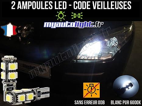 feux de position  pour  Renault Scenic 2 Żarówki i oświetlenie LED 2 ampoules à LED  Blanc veilleuses