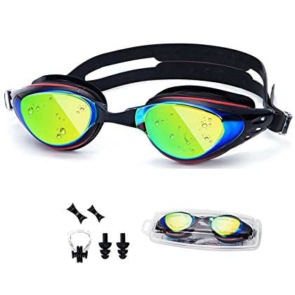 2030c2a5b9 UTOBEST Optical Swim Goggles Nearsighted Prescription Swimming Goggles with  Degree UV Protection Anti-Fog No Leaking with Ear Plugs Nose Clip for Women  Men ...