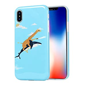 Cute Protective Glossy TPU Phone Case Cover for Apple iPhone X (2017)/ iPhone Xs (2018) - Giraffe Riding Shark