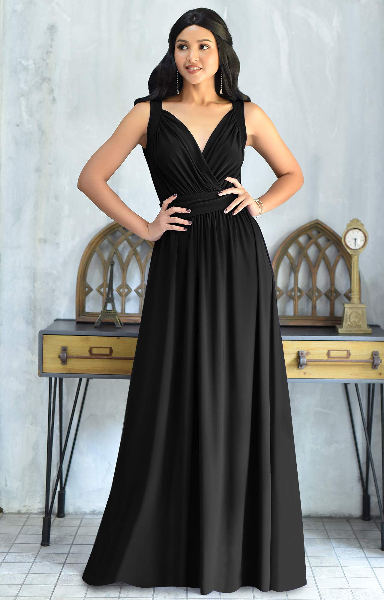 KOH KOH Womens Long Sleeveless Flowy Bridesmaids Cocktail Party Evening Formal Sexy Summer Wedding Guest Ball Prom Gown Gowns Maxi Dress Dresses, Black L 12-14 by KOH KOH (Image #2)