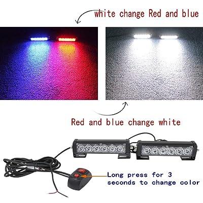 2PC 12V24V6Led Variable Colors Emergency Strobe Police Light Bar Warning Deck Dash Grille Light for Motorcycle Utility Vehicle Car Trucks Jeep Offroad SUV UTV ATV: Automotive
