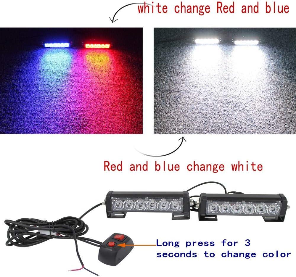 2PC 12V24V6Led Red Blue Strobe Amber Police Emergency Light Bar Warning Deck Dash Grille Light for Utility Vehicle Motorcycle Car Trucks Jeep Offroad SUV UTV ATV