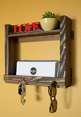 Handmade Entryway Key Holder and Mail Organizer Coat Rack Wall Hooks Farmhouse Home Decor Floating Shelf Wall Mount for housewarming gift