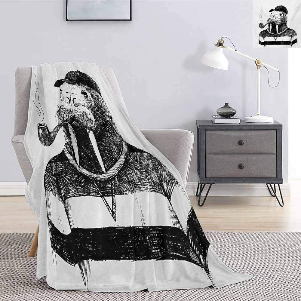 Tr.G Contemporary Bedding Microfiber Blanket Sketch Artwork of a Walrus with a Pipe and Cap Dressed in Hipster Style Super Soft and Comfortable Luxury Bed Blanket W70 x L70 Inch Black and White