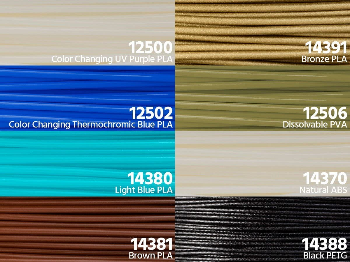 Pack de 9 rollos de filamento de 1,75 mm Monoprice 114392 0,3 kg PLA, ABS, PVA, PETG, limpieza