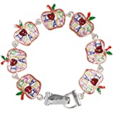 Teacher Gift I Love to Teach Apple Charm Bracelet with Magnetic Clasp