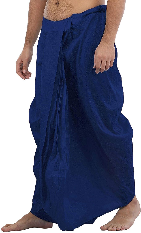 Maenner-Dhoti-Dupion-Silk-Plain-handgefertigt-fuer-Pooja-Casual-Hochzeit-Wear Indexbild 64