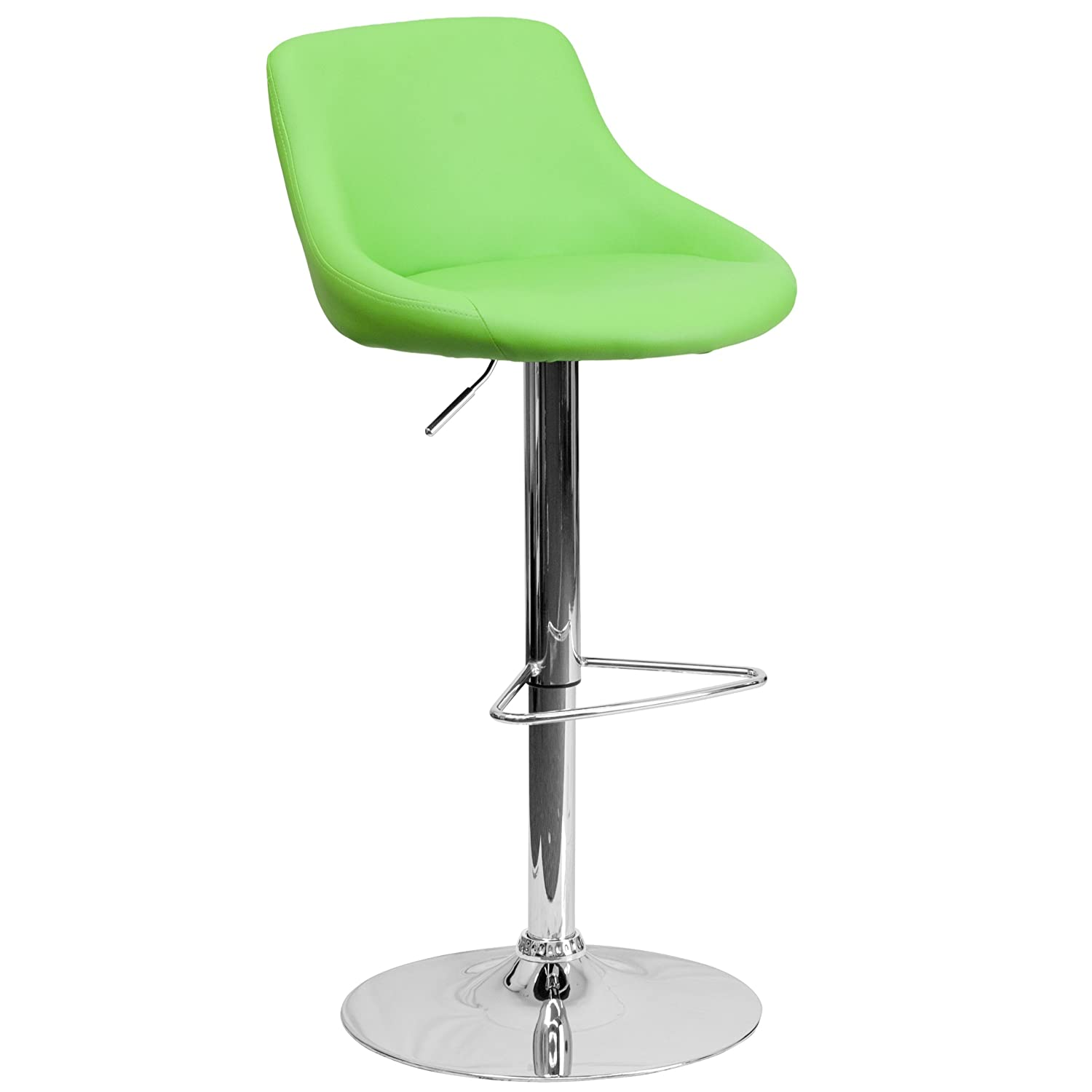 Flash Furniture Contemporary Black Vinyl Bucket Seat Adjustable Height Barstool with Chrome Base CH-82028-MOD-BK-GG