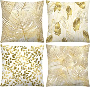 DEARCRAFT Set of 4 Golden Leaves Throw Pillow Covers 18x18 inch Cozy Velvet Flannel Square Throw Pillow Case for Sofa Livingroom Bedroom Car Farmhouse Soft Home Decor