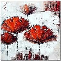 XSHUHAN Dipinto A Mano Pittura A Olio Dipinto A Mano Moderno Astratto Pittura A Olio Fiori Rossi su Tela per Wall Art