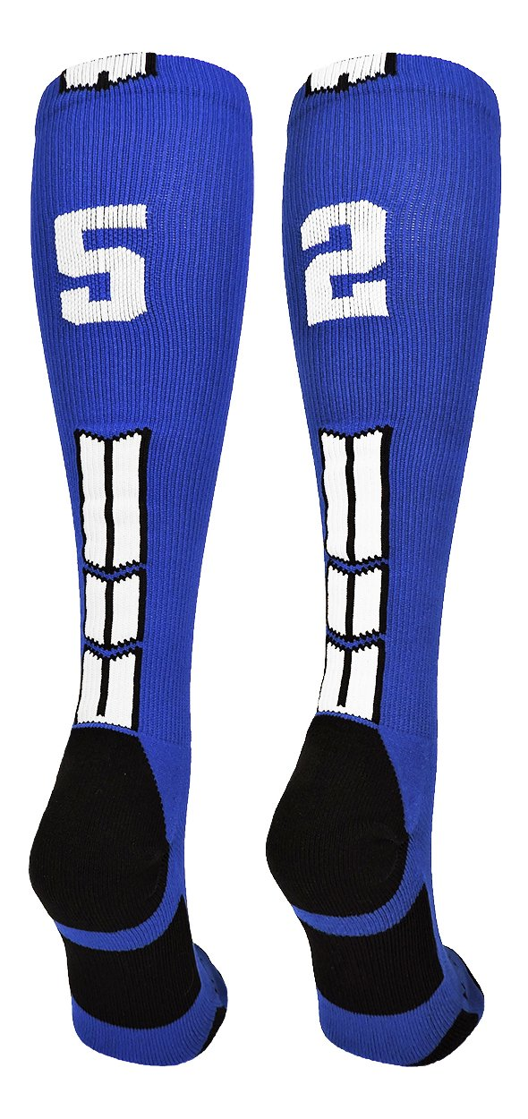 MadSportsStuff Royal/White Player Id Custom Over The Calf Number Socks (Pair)