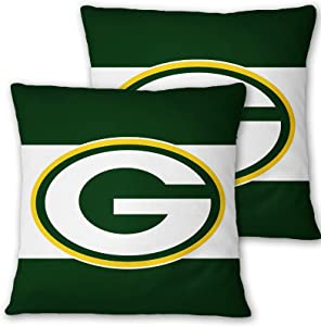 Deztibos Throw Pillow Covers Super Bowl Pillowslip Football Team Pillow Protecter Soft Square Pillowcase with Hidden Zipper for Home Decor Sofa Car 18 x18inches(Packers)