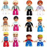 Minifigures Community People Family Figures Set -12pcs - No Need Assembled - for Preschool-Sized Building Sets 100% Compatible Building Blocks