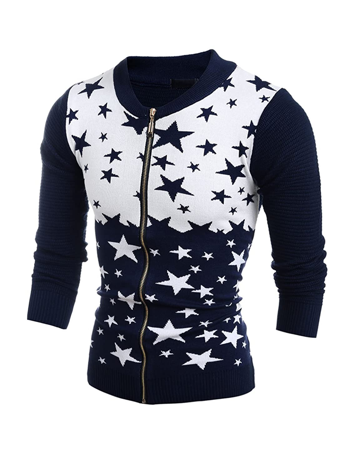 sourcingmap? Men Stand Collar Long Sleeves Stars Slim Fit Knit Cardigan