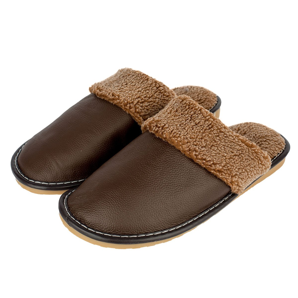 Haisum Mens Winter Autumn Genuine Leather Soft Comfy Lining Cozy Slip-On Lined Mule House Slippers