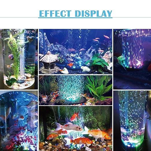 Luz del acuario Cambio de color automático Decoración de LED Luces sumergibles Dc Tanque de peces redondo Lámpara de acuario Luz 12V Color Lámparas de ...