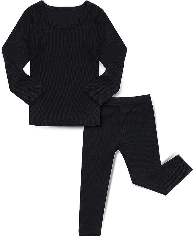 AVAUMA Baby Boys Girls Solid Basic Bodysuits Pants Kids Pajamas Long Sleeve Rayon