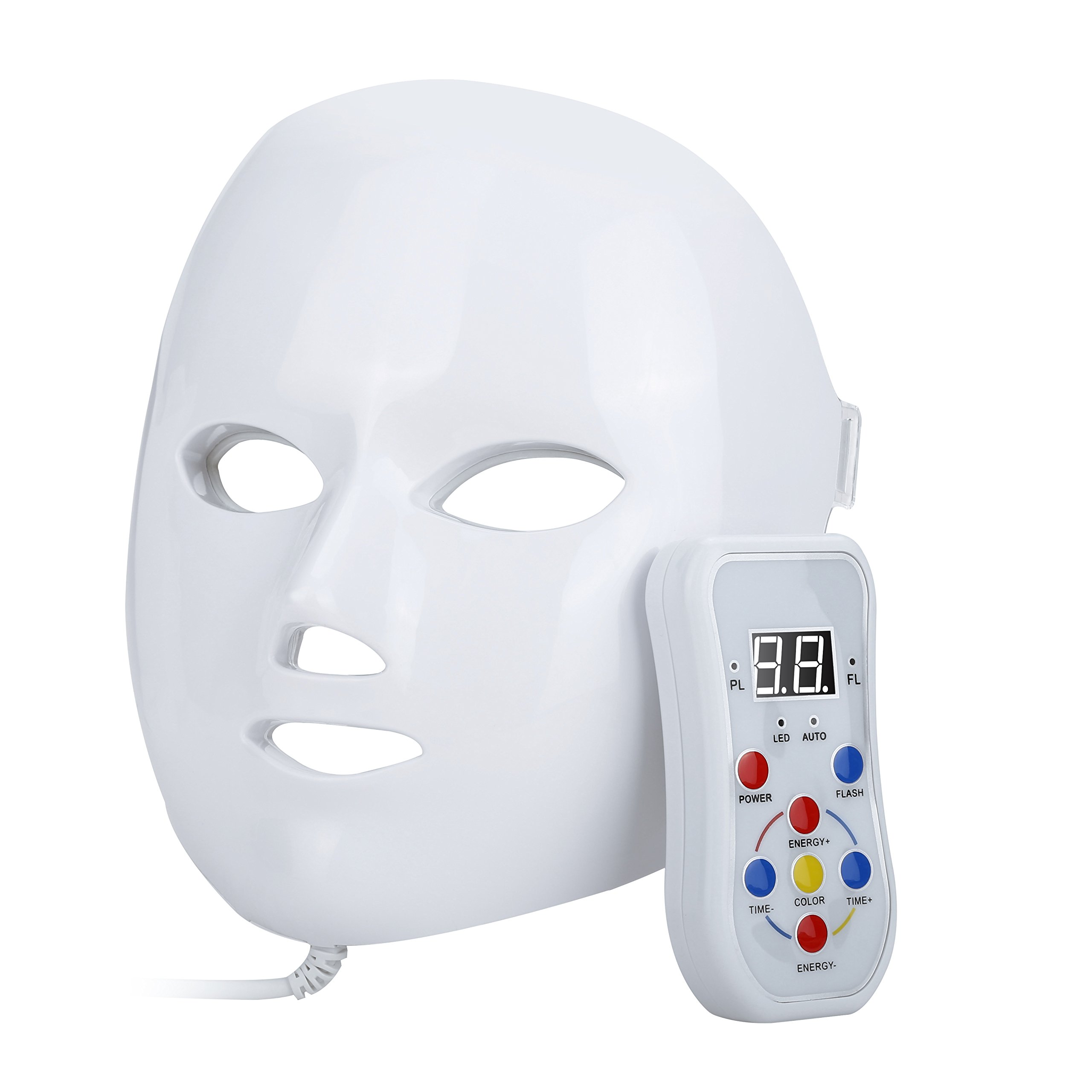 NEWKEY LED Photon Light Therapy Facial Mask Professional Anti Aging Skin Care Device for Face Whitening and Smooth - 1 YEAR WARRANTY